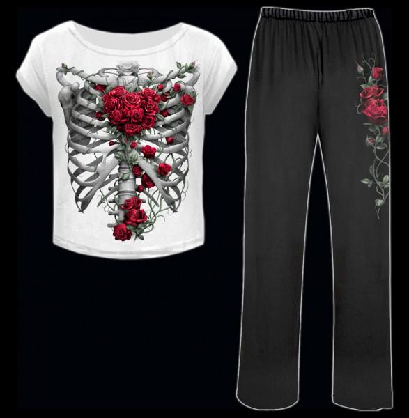 Spiral Gothic Damen Pyjama Set - Rose Bones