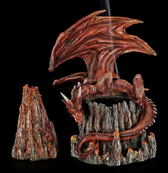 Räucherkegelhalter - Drache auf Vulkan
