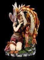 Drachen Figur - Orange mit Elfe