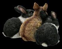 Garden Figurine - Three Cuddling Bunnies