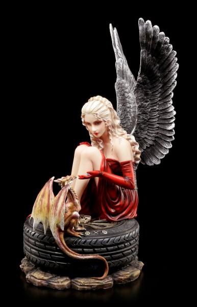 Dark Angel Figurine - Cariel on Car Tire with Dragon