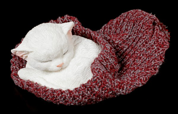 Cat Figurine asleep wrapped in red Cap