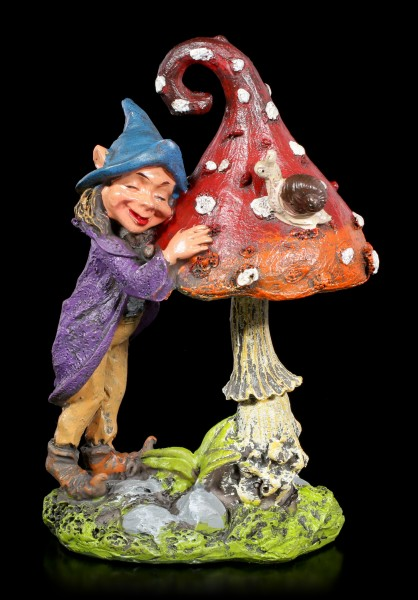 Garden Figurine - Pixie Elf with Mushroom and Snail