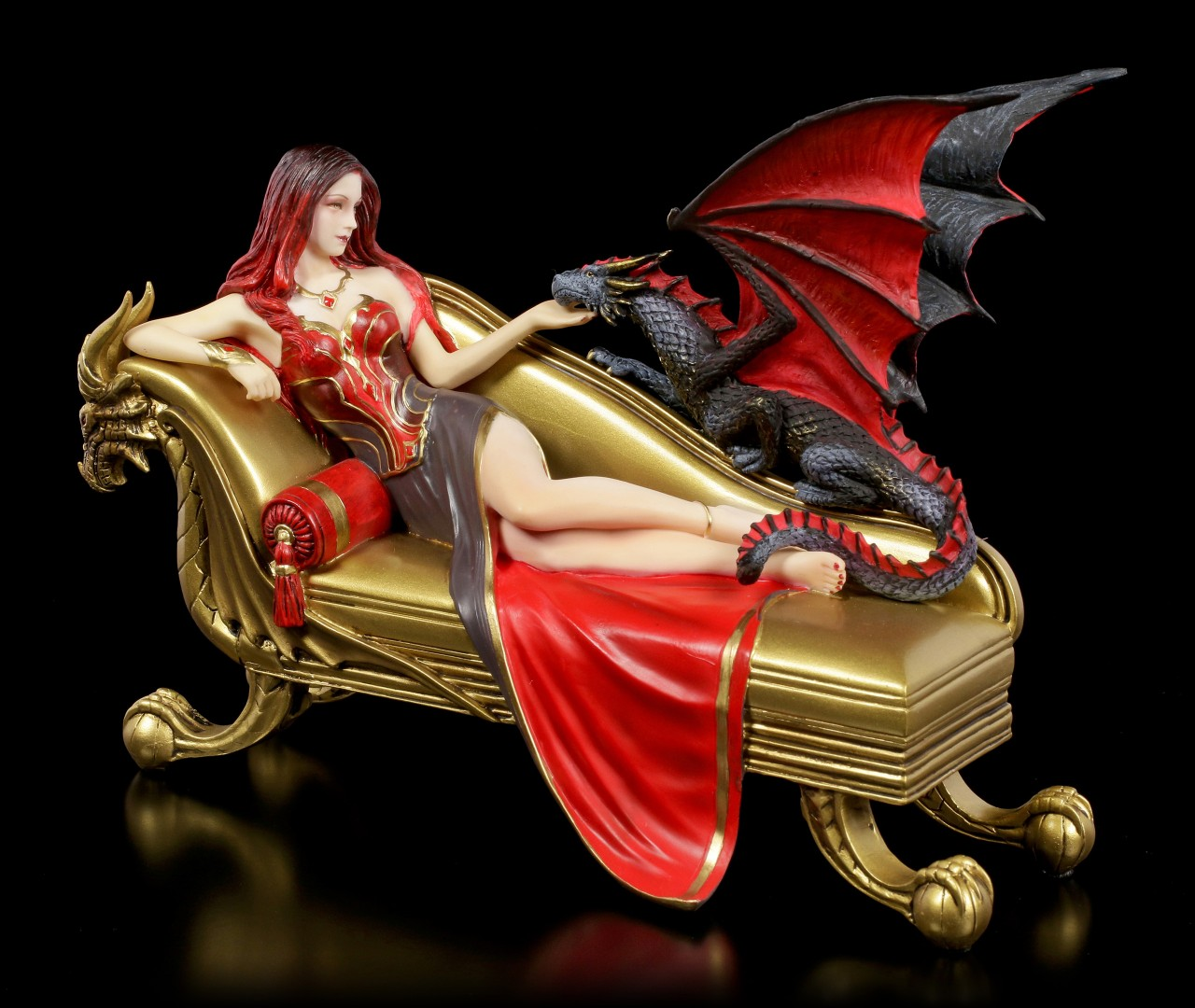 Dragon Figurine with Princess - Dragon Companion