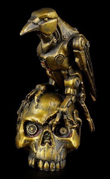 Steampunk Figurine - Raven on Skull