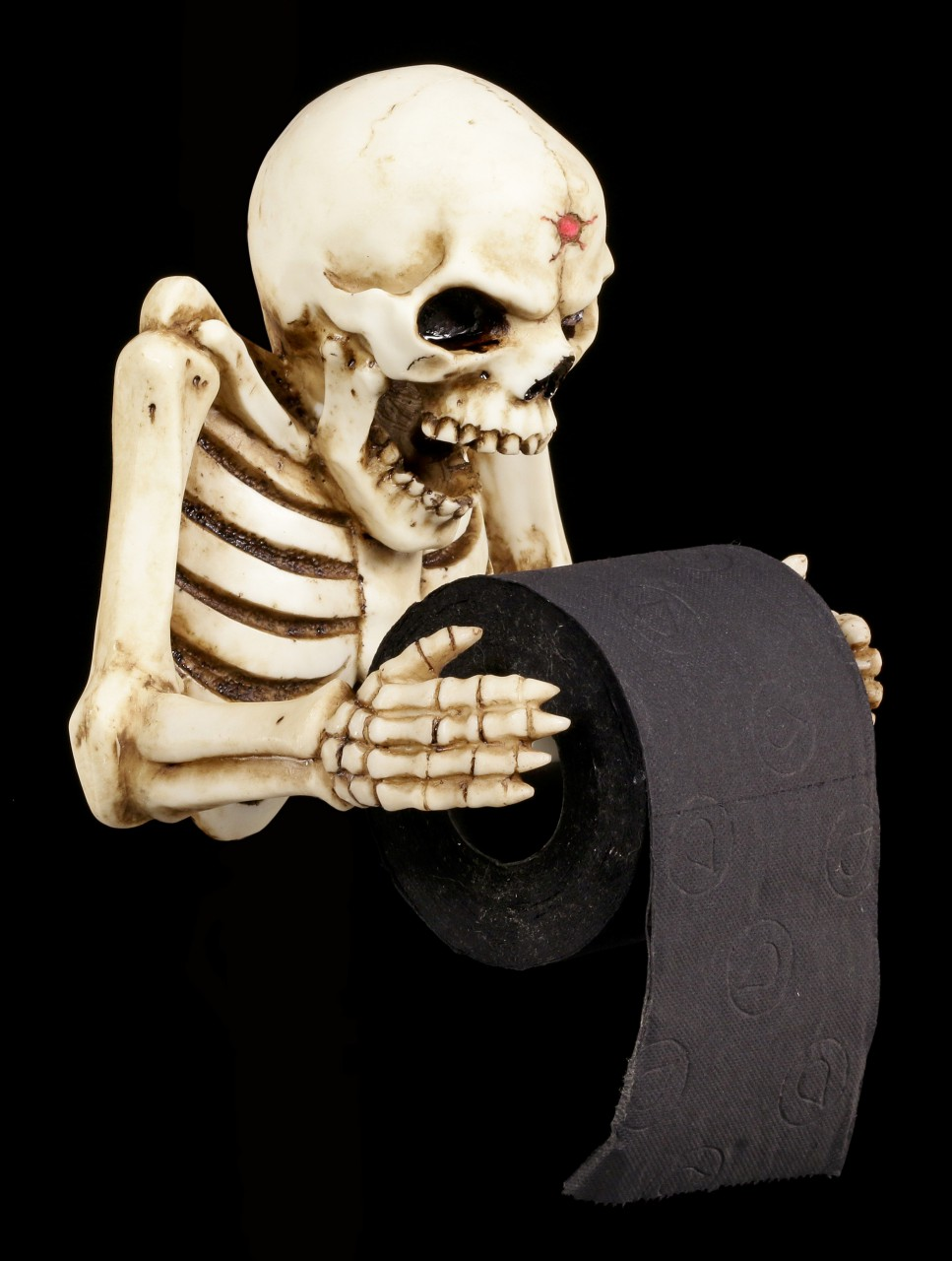 Toilettenpapierhalter Skelett mit Schußwunde