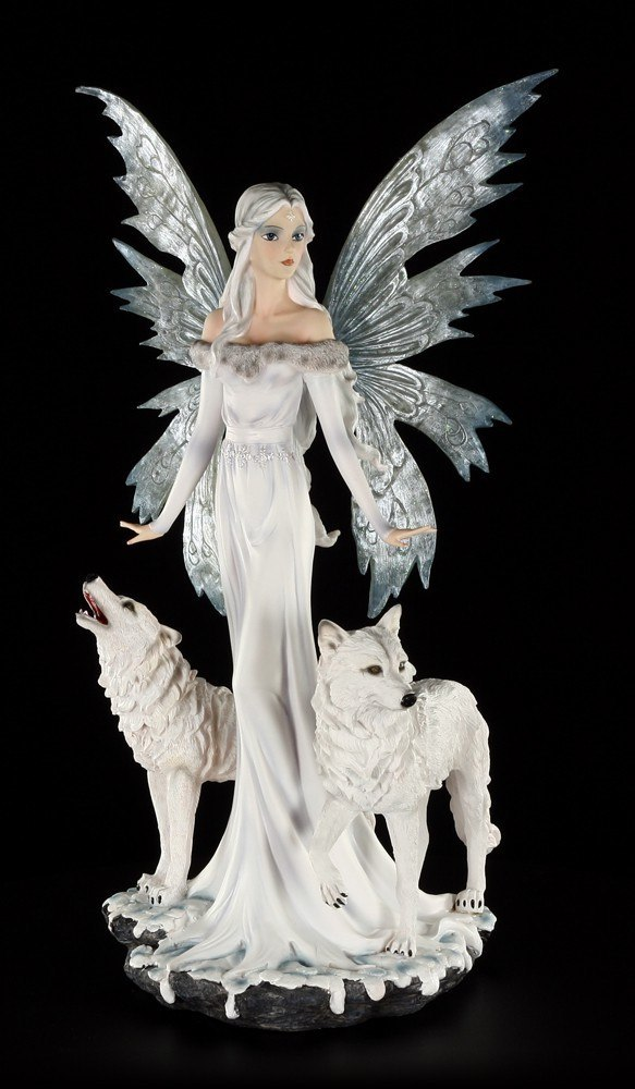 Fairy Figurine - Niamh the Ice Princess with two Wolves - large