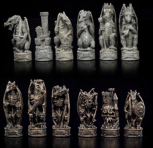 Schachfiguren - Drachen vs. Skelett-Drachen