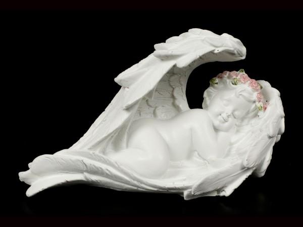 Weiße schlafende Engel Figuren - 2er Set