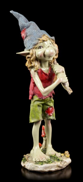 Pixie Figurine - Boy with Bindall over Shoulder