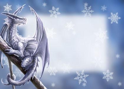 Fantasy Weihnachtskarte Wolf - Protector