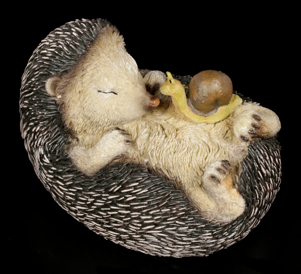 Garden Figurine - Sleeping Hedgehog with Snail