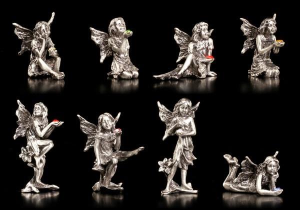 Zinn Elfen Figuren mit Kristallen - 8er Set