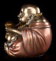 Happy Buddha Figur - Sitzend mit Goldschale