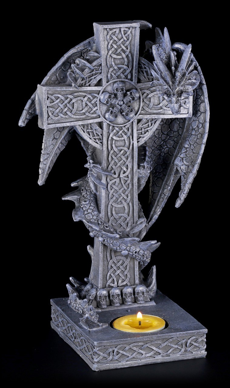 Teelichthalter - Drachen klettert auf Kreuz - Rechts