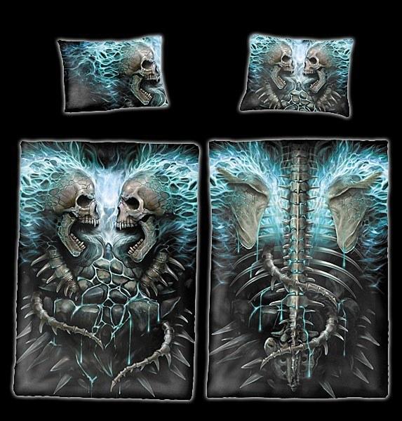 Spiral Totenkopf Bettwäsche - Flaming Spine