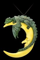 Dragon on Moon - Crescent Slumber - green