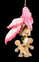 Christbaum-Schmuck - Rote Elfe mit zwei Lebkuchen