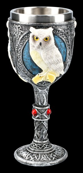 Goblet with white Owl - Wise Companion