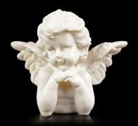 Engel Gartenfigur - Kleiner Cherub beobachtet
