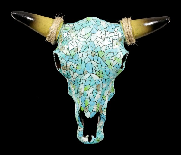 Wall Ornament - Turquoise Cattle Skull with Mosaic