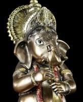 Kleine Ganesha Figur musizierend mit Shehnai