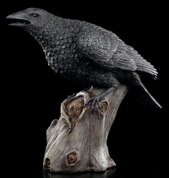 Large Black Raven Figurine - Ravens Cry