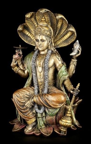 Hinduistische Götter Figur - Vishnu - Sitzend auf Lotusblüte
