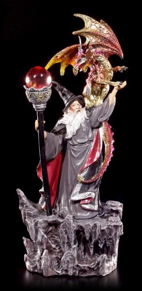 Zauberer Figur mit Drache Jabor LED