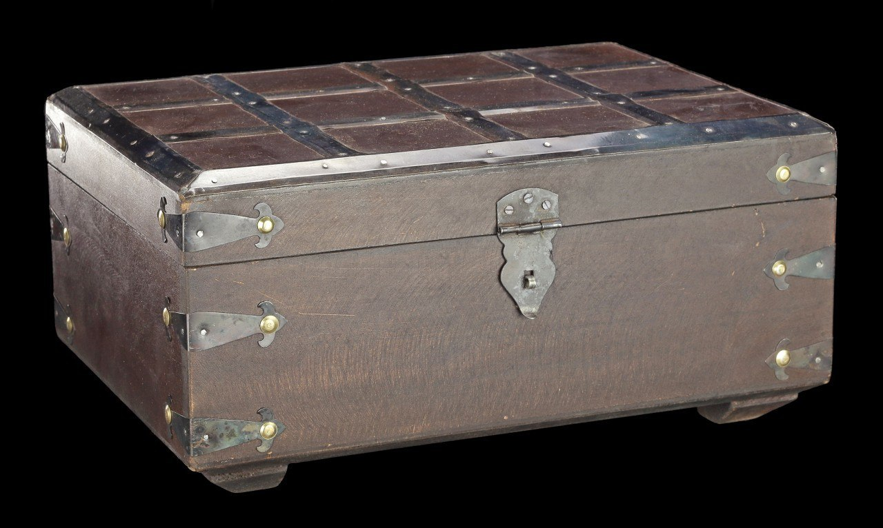 Medieval Wooden Chest - with Fittings in Cassette Form