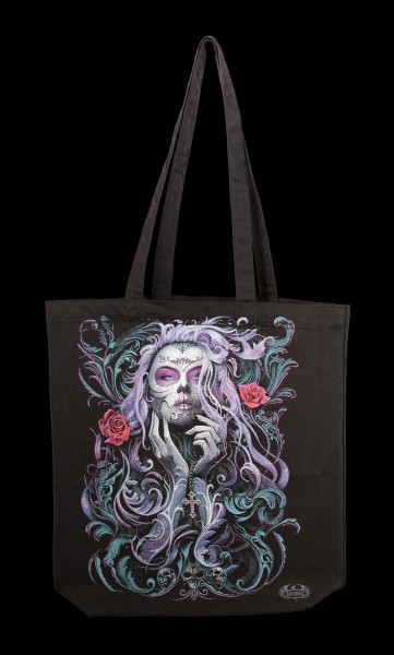 Long Handle Tote Bag - Rococo Skull