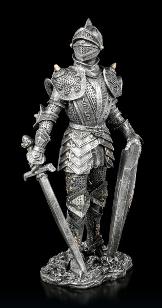 Knight Figurine with Sword and Shield - silver colored