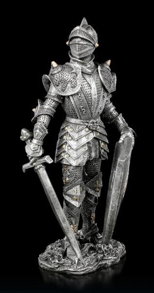 Ritter Figur mit Schwert und Schild - silberfarben