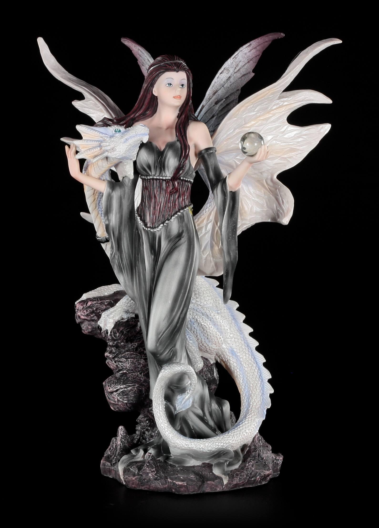 Fantasy Fee Drachenelfe Statue Elfen Figur mit Drache LED Fierce Companion