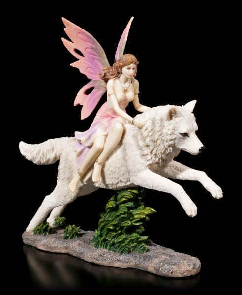 Elfen Figur - Jeora reitet auf Wolf
