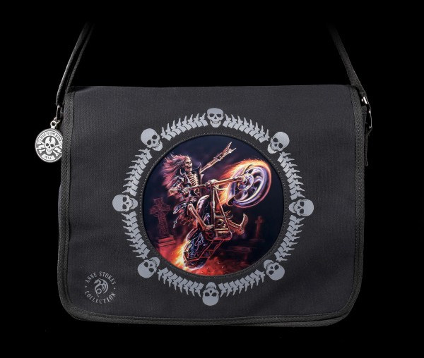 3D Messenger Bag with Skeleton Biker - Hellrider