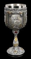 Mittelalter Kelch - Ritterhelm auf Wappen