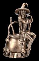 Hexen Figur - Hexe sitzt auf Kessel