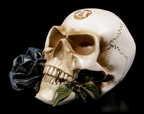 Totenkopf - Alchemisten Schädel mit schwarzer Rose