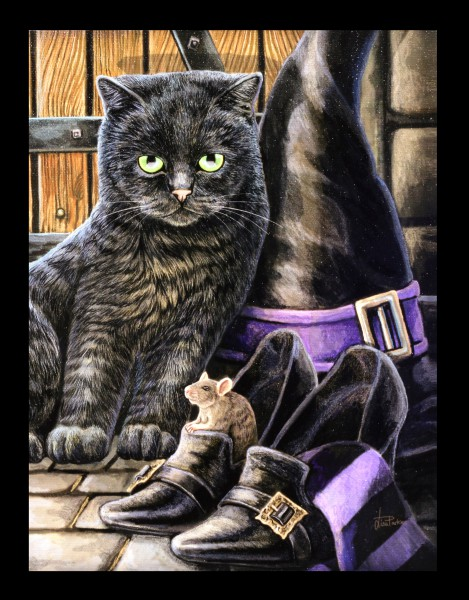 Small Canvas Cat - Trouble & Squeak by Lisa Parker