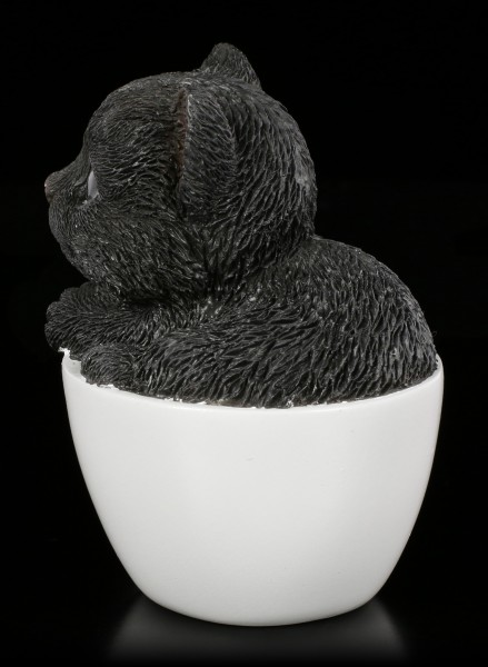 Schwarzes Kätzchen in Tasse - klein