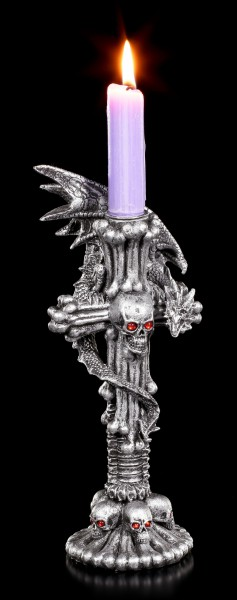 Drachen Kerzenhalter - Totenkopf Kreuz - Chrystal Light