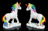Unicorn Figurines with Rainbow Mane - Set of 2 medium