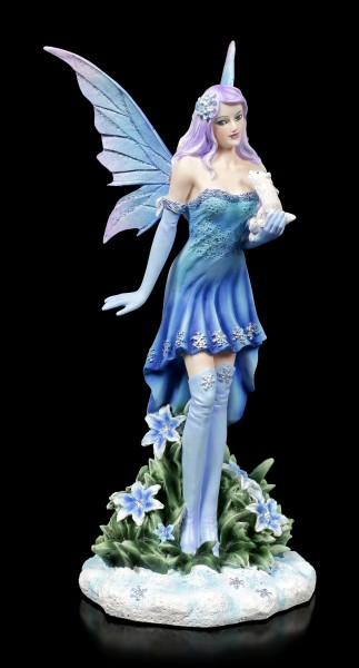 Winter Fairy Figurine - Melly with white Ferret