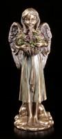 Angel Figurine - Smiling with Flower Basket
