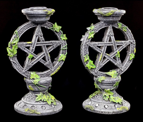 Kerzenhalter - Wicca Pentagramm 2er Set