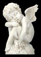Garden Figurine - Angel Cupid on Ball with Ivy