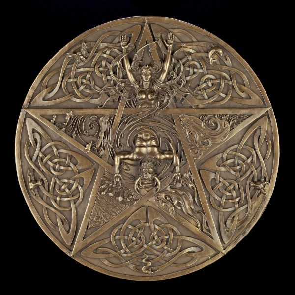 Wall Plaque - Horned God and elementary Goddess