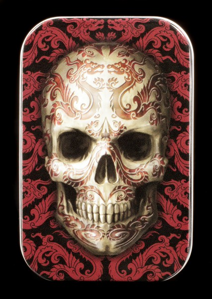 Metall Dose mit Totenkopf - Oriental Skull by Anne Stokes