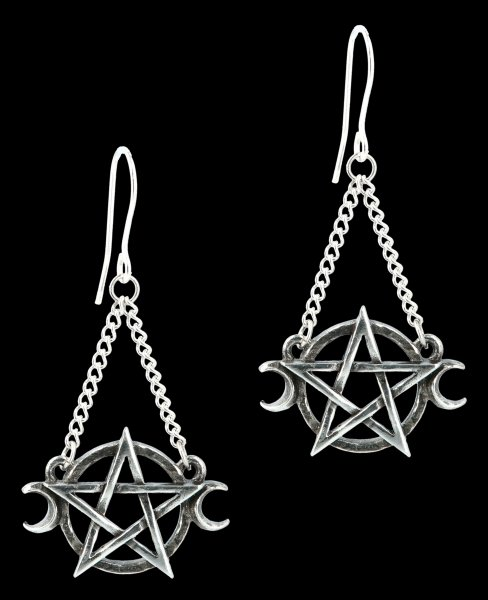 Alchemy Gothic Earrings - Pentagram Goddess